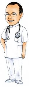児島医院 長野市 整形外科 リハビリテーション科 インフルエンザ予防接種 肩こり 首の痛み 腰痛 院長イラスト